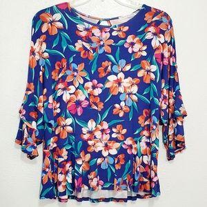 Sale 4/$30 Chris & Carol Blue Floral Peplum Blouse